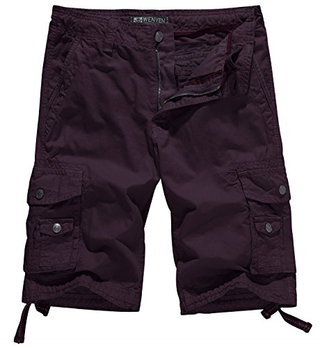 WenVen Men's Cotton Twill Cargo Shorts Outdoor Wear Lightweight(No.4 Dark Purplish,42)