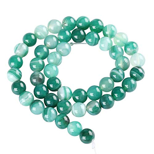 - 2 Strands x AAA Natural Green Stripe Agate Gemstone Loose Round Beads 8mm Spacer Beads (15.5