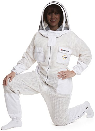 NATURAL APIARY - ZEPHYROS PROTECT Beekeeping Suit - White - Clear View Fencing Veil - Keep Fresh & Comfortable with Maximum Protection - Professional & Beginner Beekeepers - X X Large