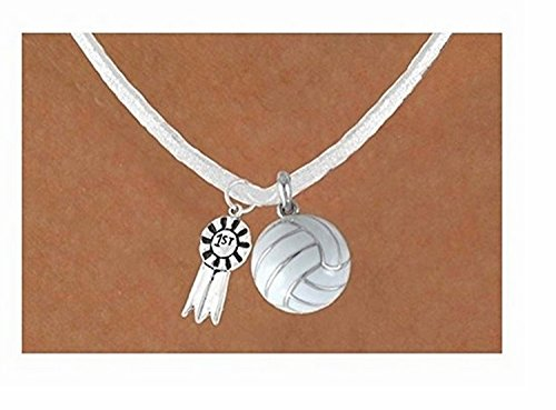 ''1st'' Ribbon & White Volleyball Necklace by Lonestar Jewelry