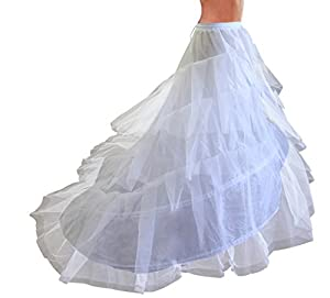 Edith qi New Long Train Crinoline Petticoat Underskirt Slips Bridal Accessories