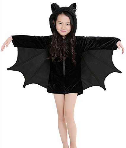Apiidoo Kids Cozy Furry Bat Cosplay Costume Halloween Outfits Child Fancy Dress M ()