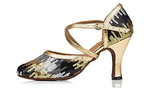 Minishion Womens Th135 Paljett Kors Rem Pleather Bröllop Balsal Latin Taogo Dance Pumpar Skor Guld / Svart 8cm Klack