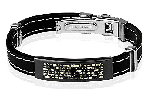 Leather Stainless Rubber Steel Bracelets (Covet Jewelry Lords Prayer Black Plated Stainless Steel ID Plate Stitch Accent Rubber Bracelet)