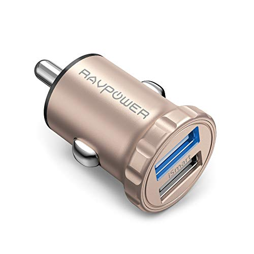 Car Charger RAVPower 24W 4.8A Mini Dual USB Car Adapter with iSmart 2.0, Compatible with iPhone Xs XS Max XR X 8 7 Plus, iPad Pro Air Mini and Galaxy S9 S8 Plus, Edge Note Series and More (Gold)