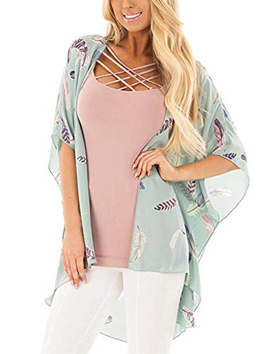 Women's Floral Print Puff Sleeve Kimono Cardigan Loose Cover Up Casual Blouse Tops (Blue Feather, -