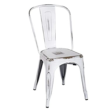 2016 NEW ARRIVAL! Adeco Metal Stackable Industrial Chic Dining Bistro Cafe Side Chairs,Distressed White, Set of 2