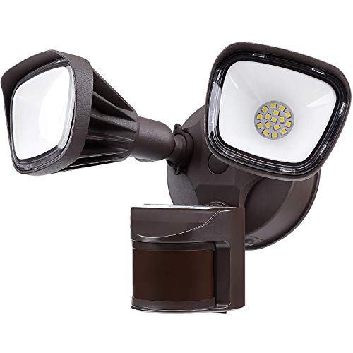 LEONLITE 25W Dual-Head Motion-Activated LED Outdoor Security Light, 150W Equiv. Waterproof Area Lighting, Photocell Included, DIM Mode Available, 5000K Daylight, for Yard, Garage, Porch, Bronze