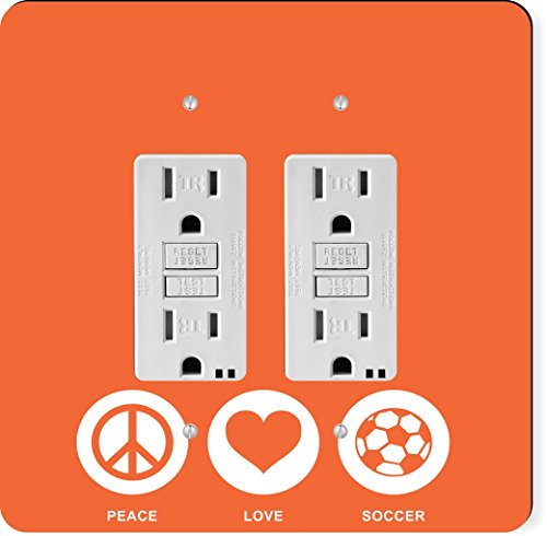 Rikki Knight 42775 Gfidouble Peace Love Soccer Orange Color Design Light Switch Plate by Rikki Knight