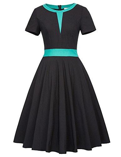 Belle Poque Summer Pocket Short Sleeve Colorblock Flared A-Line Dress Cocktail Business BP448