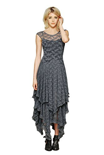 CA Fashion Women's Sleeveless Floral Lace Tiered Long Irregular Party Dress Grey Medium