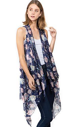 (CCFW Floral Printed Open Front Drape Cardigan Scarf Vest (9701 Blue))