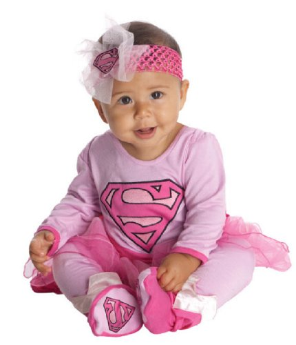 DC Comics Supergirl Onesie And Headpiece, Pink, 6-12 Months - Baby Sibling Halloween Costumes