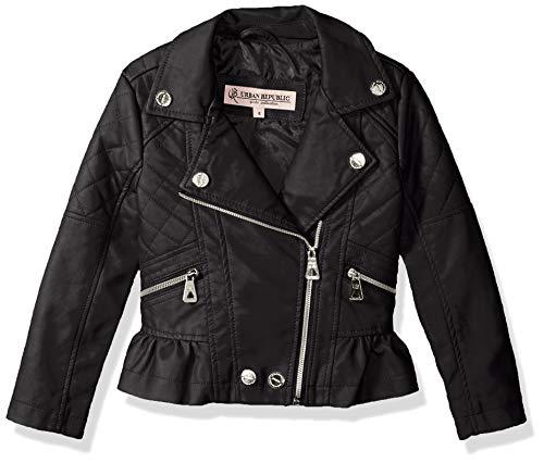 Urban Republic Big Girls Distressed Pu Jacket, Black, 14 -