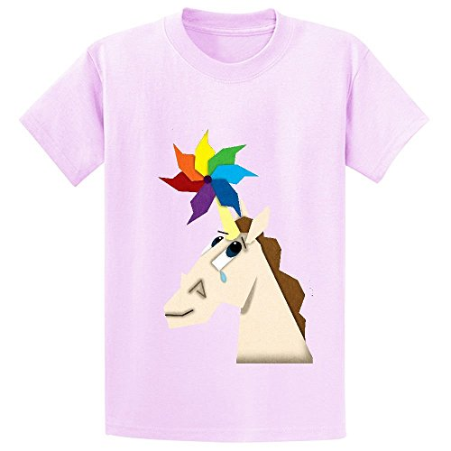 Price comparison product image Snowl Pinwheel Unicorn Boys' Crew Neck Customized T-shirt Pink