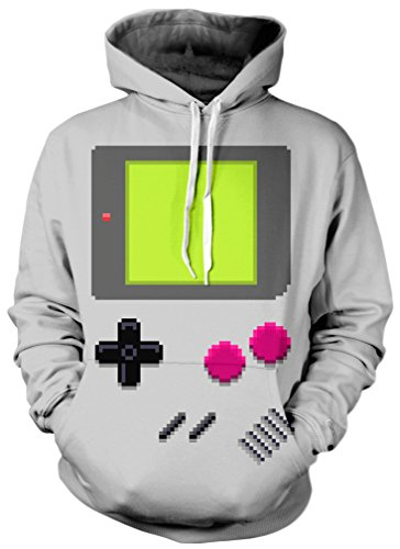 TDOLAH Damen Herbst Winter Kartoon Sweatshirts Spaß Textildruck mit Kapuze Pullover Strickjacke (Größe L / XL, 027 Spielkonsole)