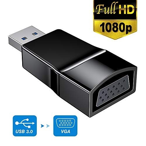 USB to VGA Adapter for Windows, USB 3.0 Multi Monitor Display, Suit for Windows 7/8/8.1/10 and More, NO Need Any CD Driver