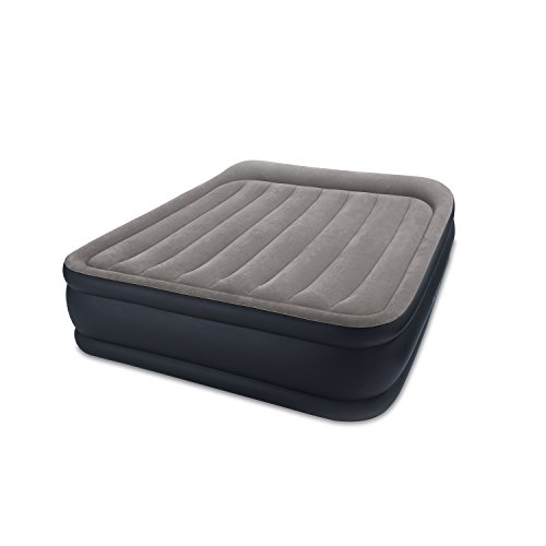 Mattress Air Deluxe (Intex Dura-Beam Standard Series Deluxe Pillow Rest Raised Airbed w/Soft Flocked Top for Comfort, Built-in Pillow & Electric Pump, Bed Height 16.5
