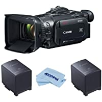 Canon XF-400 4K UHD High Definition Professional Camcorder with HDMI 2.0 Output , 15x Optical Zoom, - Bundle With 2 Pack Canon BP-828 2670mAh Lithium-Ion Battery Pack, Microfiber Cloth