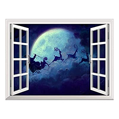 Removable Wall Sticker Wall Mural Santa Claus Flying...