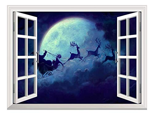 Removable Wall Sticker/Wall Mural - Santa Claus Flying at Christmas Eve Open Window Mural Wall Sticker - 24