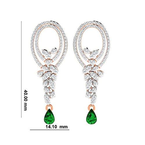 Libertini Boucle d'oreille argent 925 plaque or Rose serti de Diamant et Émeraude