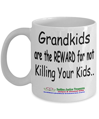 Taxi Cookie Jar (Grandkids Are The Reward For Not Killing Your Kids White Mug Unique Birthday, Special Or Funny Occasion Gift. Best 11 Oz Ceramic Novelty Cup for Coffee, Tea, Hot Chocolate Or Toddy)