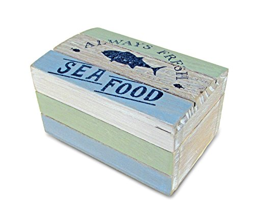 Puzzled Wooden Ocean Breeze Jewelry Box, Intricate & Meticulous Detailing Art Handcrafted Treasure Chest Trinket Distressed Finish Accessory Storage Tabletop Accent Nautical Beach Themed Home Décor