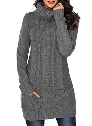Dokotoo Womens Sweater Cable Knit Casual Chunky Cowl Neck Long Sleeve Winter Ladies Fashion Ribbed Sweater Mini Dress Jumper Pullover Slim Dresses Pockets Grey Large