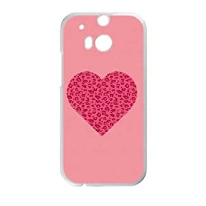 HTC One M8 Cell Phone Case White Pink Leopard Heart T4G8IA
