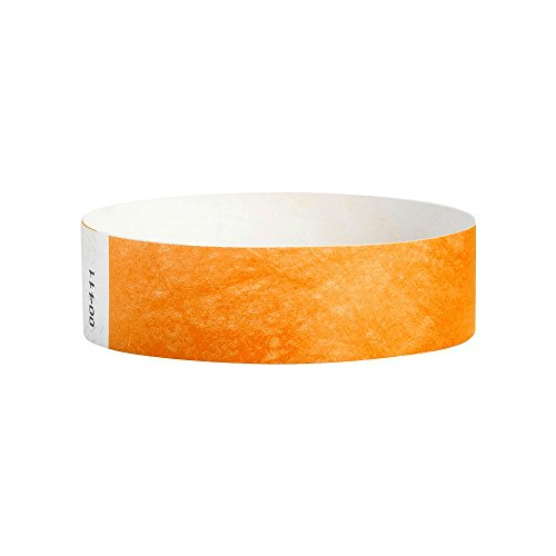 WristCo Neon Orange 3/4 Inch Premium Black Light Security 500 Count Paper Wristbands for Events