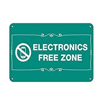 electronics free zone business sign no cell phones aluminum metal sign 8x12 inch. Black Bedroom Furniture Sets. Home Design Ideas