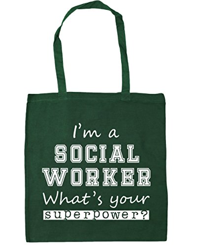 Your Shopping Bottle What's Gym x38cm Worker 42cm Green Superpower A I'm Bag litres 10 Beach Social Tote HippoWarehouse axwU8Xnq