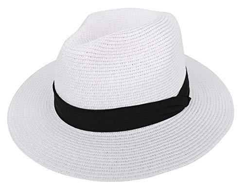 Fedora Hats for Men Women's Wide Brim Foldable Panama Hat Beach Sun Hat,White