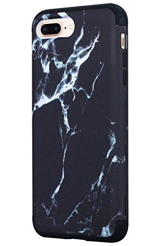 iPhone 8 Plus/ 7 Plus Case, SAVYOU Heavy Duty Protection Shock Reduction Defense High Impact Bumper Protective Cover for Apple iPhone 8 Plus 5.5inch Black Marble