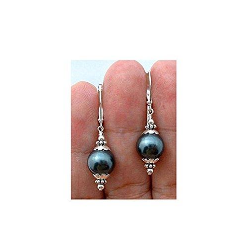 Jaywine2 12mm Tahitian Black Peacock Sea Shell Pearl Sterling Silver Leverback Earrings