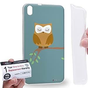 Case88 [HTC Desire 816] Gel TPU Carcasa/Funda & Tarjeta de garantía - Art Sleeping Owl on tree Kawaii Owl Art1316
