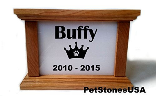 pet-cremation-urn-cherry-wood-box-photo-memorial-white-granite-any-animal-personalized-personalised-