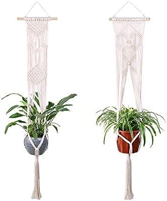 Luxbon 2pcs Macramé Hanger Planta de Maceta Hecha a Mano Cuerda de algodón para Decoraciones Interiores y Exteriores: Amazon.es: Hogar
