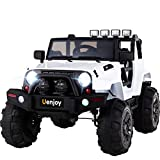 Uenjoy Ride on Car 12V Battery Power Children's Electric Cars Motorized Cars for Kids with Wheels Suspension,Remote Control, 4 Speeds, Head Lights,Music,Bluetooth Remote Controller in 4 Colors (white)