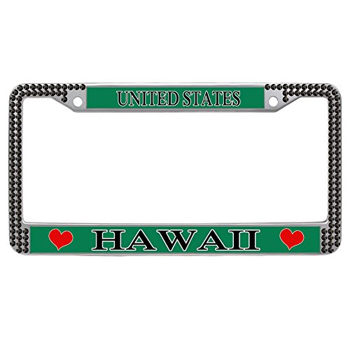 Nuoyizo Hawaii License Plate Frame Heart Auto Tag Frame Stainless Steel Rhinestone Car Tag Holder Bling License Plate (Hawaii Heart Rhinestone)