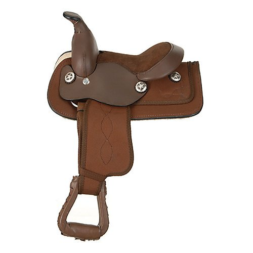 King Series Miniature Synthetic Western Saddle BRN