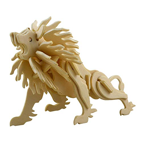 Puzzle Lion Wooden - Demarkt 1PCS 3D Wooden Three-Dimensional Animal Puzzle DIY Children's Handmade Model Crafts Suitable Children Over 6 Years Old (Lion)