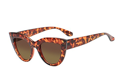 UV Protection Cat Eye Sunglasses,Mirrored Flat Lens Women Fashion Glasses (Amber-gradient ()