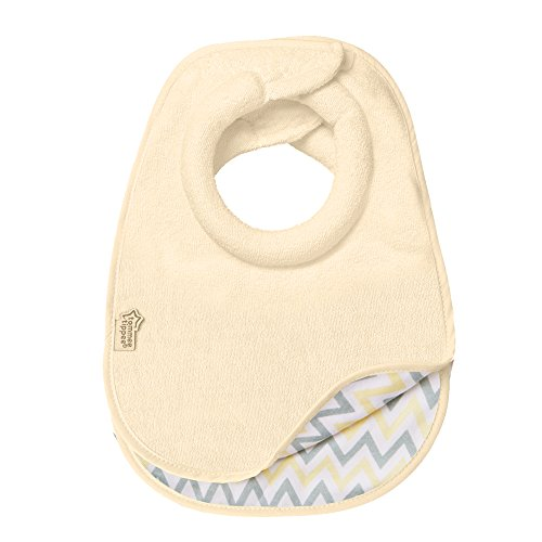 Tommee Tippee Closer to Nature Comfi-Neck Reversible Soft Baby Bib with Padded Collar, 0+ months - Cream Chevron, ()