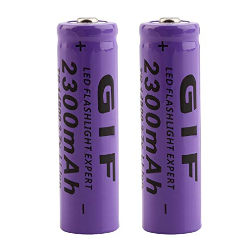Pack of 2 3.7V 14500 Rechargeable 2300mAh Li-ion Lithium Battery Batteries for LED Flashlight Headlamp