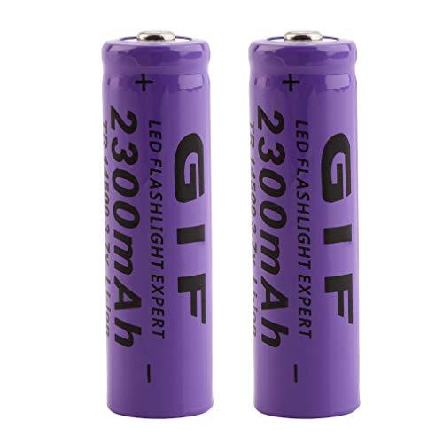 Pack of 2 3.7V 14500 Rechargeable 2300mAh Li-ion Lithium Battery Batteries for LED Flashlight Headlamp