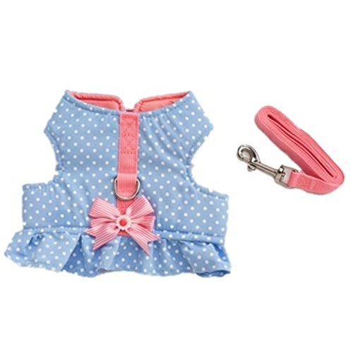 Stock Show Pet Dog Vest Harness and Leash Set with Cute Bowtie Small Dog Outdoor Walking Jackets Breathable Fashion Jeans Cloth for Small Puppy Dogs Teddy Poddle (XS, Polka Dots with Bowknot) (Best Dog Walking Jacket)