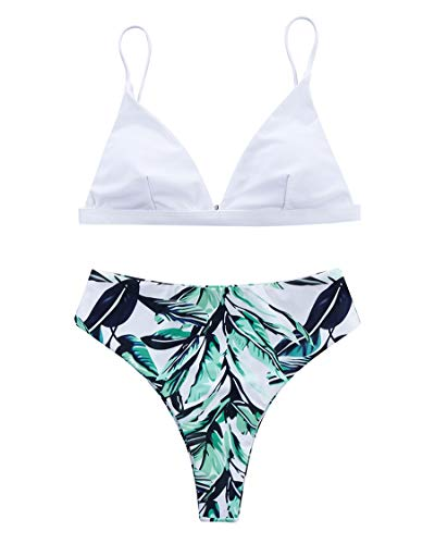 MOSHENGQI Women Cheeky Bikini Sets Padded Brazilian Top High Cut Bottom Floral 2 Piece Swimsuits(Small, White Floral391)