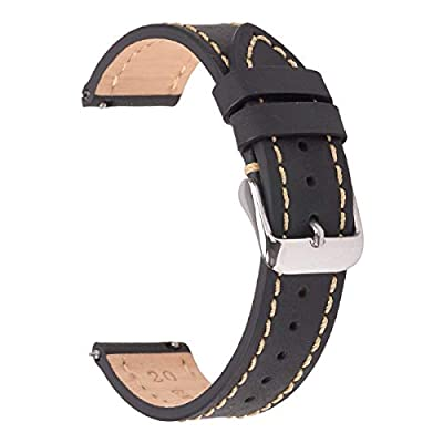 Quick Release Watch Bands,EACHE Genuine Leather Watch Strap for Men & Women 20mm Dark Brown from EACHE